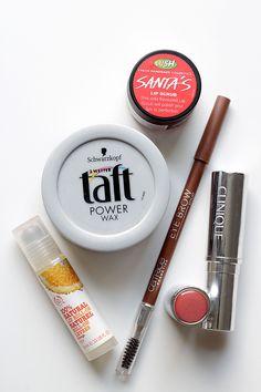 The Body Shop (lip gloss), Lush (lip scrub), Clinique (blush), Catrice (eye brow pen), Schwarzkopf (hair wax). For the whole review visit http://www.miss-annie.de/?p=557