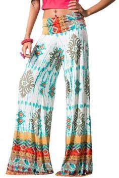 Mojave Mama Palazzo Pants - White + Multi - $40.00 | Daily Chic Bottoms | International Shipping