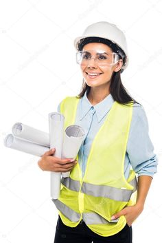 Engineer Hardhat Goggles Holding Blueprints Isolated White Stock Picture , #Sponsored, #Goggles, #Holding, #Engineer, #Hardhat #AD Stock Pictures, Stock Photos, Construction Birthday Parties, White Stock Image, Hard Hats, Solar, Engineering, Style Inspiration, Architecture