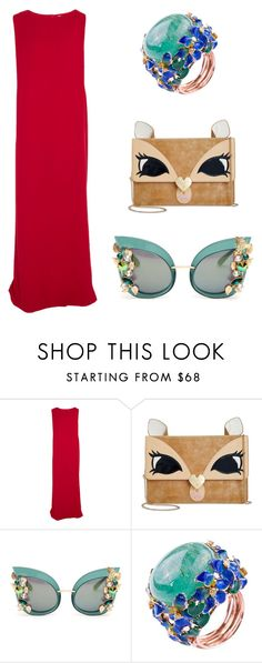 """""""Lady in red"""" by britscarike on Polyvore featuring Chalayan, Betsey Johnson and Dolce&Gabbana"""
