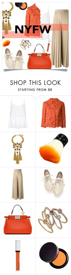"""""""Untitled #601"""" by millilolly ❤ liked on Polyvore featuring Velvet by Graham & Spencer, Dolce&Gabbana, Gypset, Givenchy, Fendi, Brian Danielle, Laura Mercier, NYFW, fashionset and polyvoreeditorial"""