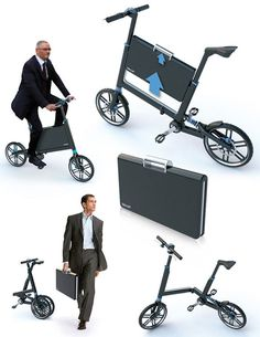 Marcos Madia, BIKOFF, folding bike with a Built-in Briefcase for Businessmen, Italia, 2010 #sustainable #transport #footprint
