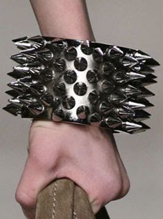 Burberry spiked cuff--not my style to wear, but it would be really fun to make something like this!