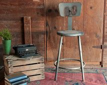 Vintage Industrial Stool, Bar Stool with Back, Metal Bar Stool, Industrial Counter Stool, Tall Metal Desk Stool, Industrial Kitchen Stool