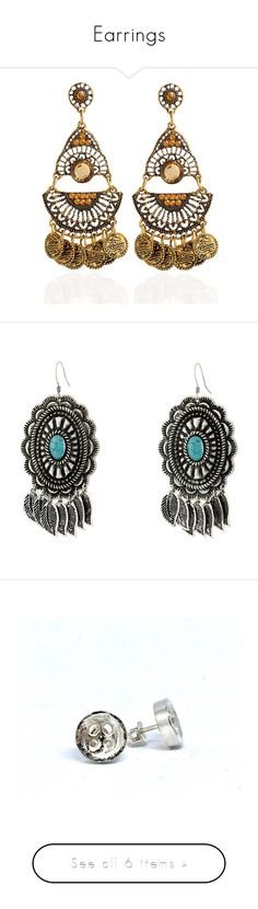 """""""Earrings"""" by zewinghi ❤ liked on Polyvore featuring jewelry, earrings, accessories, brincos, nakit, artificial earrings, coin jewelry, gem earrings, boho chic jewelry and fake jewelry"""