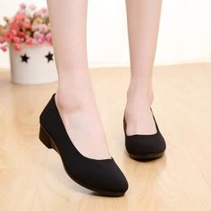 Womens Shoes Mid Heels Wedge Comfortble And Light Flats Black Work Fabric  Shoes Black Work f4c7049c53