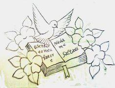 desenho religioso de biblia, pomba e flores para pintar
