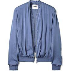 Acne Bomber Jacket (795 BRL) ❤ liked on Polyvore featuring outerwear, jackets, tops, coats, blouson jacket, collar jacket, acne studios, blue bomber jacket and bomber jacket