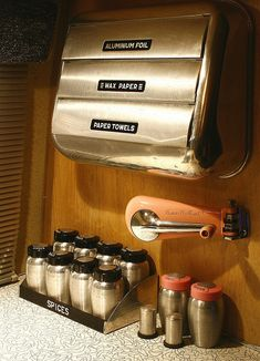 "Vintage Airstream Interior ""Kitchen ascessories"" #airstream #chrome 1964 Airstream Bambi II Interior upgraded to 1959 !"