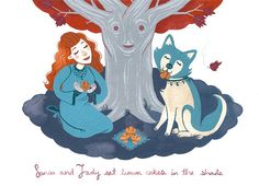 Sansa and Lady 10x8 art print by CCillustration on Etsy