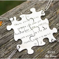 Puzzle Necklaces for 4 friends best friends by InspiredByBronx