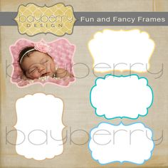 Fun and Fancy INSTANT DOWNLOAD Photoshop Frames with Clipping Mask Set 03. $6.00, via Etsy.