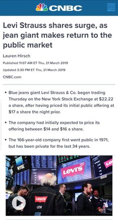 Two big IPOs listed in the US market this week..  Levi Strauss & Co. - The iconic Blue jeans giant that listed on 21 Mar  Lyft - The First Ride-share company to come out with $2Bln IPO listed on NASDAQ with $24Bln Valuation today  DHANAYOGA is pleased to advise our clients to invest in US Equities and benefit from the growth of iconic brands like Levi Strauss and disriptive startups like Lyft. Visit www.dhanayo.ga/dhana-uttama.html Levi Strauss & Co, Startups, Coming Out, Blue Jeans, Benefit, Investing, Marketing, Big, Going Out