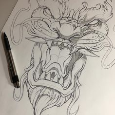 A imagem pode conter: desenho Tattoo Drawings, Cool Drawings, Chinese Dragon Art, Queen Of Hearts Tattoo, Cat Tattoo Designs, Weed Art, Japanese Tattoo Art, Spartan Tattoo, Anatomy Art