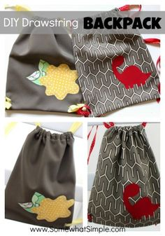 How to make your very own drawstring backpack! Perfect first project for those who want to learn to sew! #tutorial