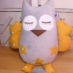 Doudou musical hibou gris clair jaune - réservé