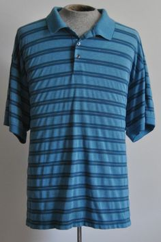 Men's Sz 3X-Large Van Heusen Blue striped Golf Shirt Cotton Blend Short Sleeve #VanHeusen #PoloRugby