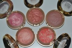Milani Baked Blushes. (I'm a little obsessed.)  Top row: Dolce Pink, Rose D'Oro, and Terra Sole. Bottom row: Luminoso and Corallina