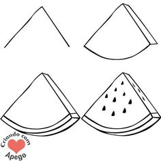 Desenhos para desenhar fácil e bonito How to draw watermelon. Drawings to draw easy step by step. Easy Doodles Drawings, Easy Doodle Art, Easy Drawings For Kids, Simple Doodles, Pencil Art Drawings, Kawaii Drawings, Drawing For Kids, Cute Drawings, Food Drawing Easy