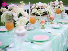 Decoración para bodas en color menta