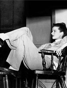 """Katherine Hepburn, the reason woman can wear pants. She is a true trendsetter and set the bar extremely high enabling women to style themselves outside the """"traditional"""" cookie cutter look. Androgynous style before the word was created. Beauty is knowing when to put on your big girl pants!!!"""