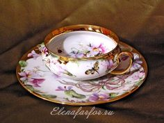 Tea pair of Violets Cup And Saucer Set, Tea Cup Saucer, Teapots And Cups, Teacups, Antique Tea Cups, Porcelain Ceramics, Vintage Tea, Tea Set, Tea Time