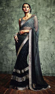 Black and Gray Shade Net Saree Price: Usa Dollar $177, British UK Pound £104, Euro130, Canada CA$189 , Indian Rs9558.