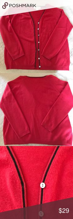 Red & black cashmere cardigan - Ellen Lawrence V-neck button up sweater, long sleeves. Super soft cashmere yarn, red with narrow black accent color around opening and neck. Abalone, mother of pearl buttons. Label is Ellen Lawrence, San Francisco. Made in China. Dry clean only. In excellent, gently worn condition. No holes, snags or stains. Ellen Lawrence Sweaters Cardigans