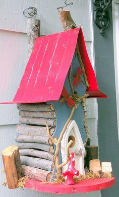 bird house Birdhouse Tall Crooked Woodland Birdhouse in