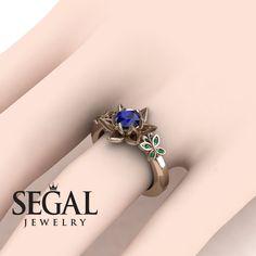 Flower Engagement Ring by Segal Jewelry Lotus Engagement Ring, Elegant Engagement Rings, Platinum Engagement Rings, Blue Sapphire Rings, Blue Rings, Edwardian Ring, Beautiful Wedding Rings, Dream Wedding, Gold Wedding
