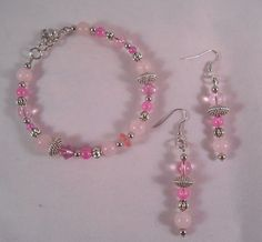 Glass and Bali Bead Bracelet and Earring set
