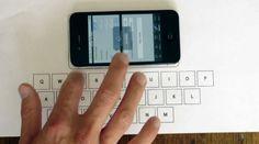 モビリティの最終型がキター。何の変哲もない一枚の紙。描かれているのはキーボードの絵。その上にiPhoneを寝かせて紙をタップすると...なん...