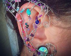 Cosplay Faerie Elf oreille poignets - Fantasy - à la main avec des cristaux de Turquoise & Améthyste