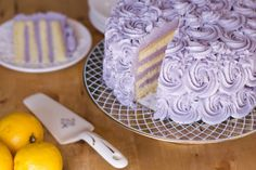 Lemon layer cake with blueberry buttercream.  (I'd leave out the lavender.... I prefer my flowers in a garden or a vase)