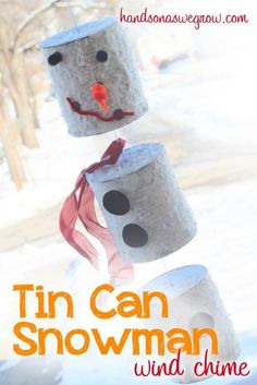 Tin Can Snowman. A snowman craft made from tin cans to hang up as a wind chime on your front porch. Make this craft interactive with snowman magnetic pieces! Tin Can Crafts, Crafts For Kids To Make, Fun Crafts, Homemade Christmas Decorations, Holiday Crafts, Holiday Fun, Holiday Quote, Thanksgiving Holiday, Winter Fun