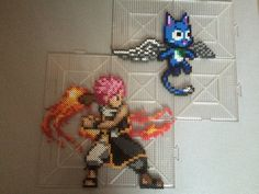 Natsu Dragneel and Happy - Fairy Tail perler beads by TehMorrison