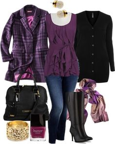 Purple long jacket, purple gown, jeans, black hand bag, scarf and other ladies accessories.. Click the pic for more #outfits