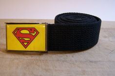 Superman Belt ready to ship shown on black strap by amecreations, $17.99