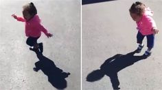 Watch What Happens When This Little Girl Notices Her Own Shadow.