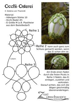 Freie Anleitung für ein Occhi-Osterei | www.zeitunschaerfe.de Needle Tatting Patterns, Tatting Earrings, Easter Crochet, Tatting Lace, Easter Eggs, Pattern Design, Diy And Crafts, Jewelry Making, Textiles