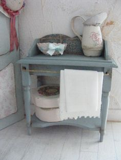 12th scale shabby chic wash stand by shabbychicminis on Etsy