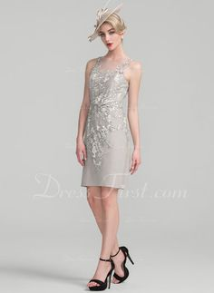 bee6d7e801   171.99  Sheath Column Scoop Neck Knee-Length Chiffon Lace Mother of the  Bride Dress With Beading Sequins (008107660)