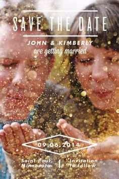 So instead of a save the date, this would make a cute gender announcement. Blow glitter that's either pink or blue :)