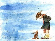 Blue rabbit art | animal, animals, art, blue, bunnies, bunny - inspiring picture on ...