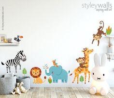 Jungle Animals Wall Decal, Jungle Wall Decal Sticker, Safari Animals Wall Decal Sticker, Giraffe Monkey Zebra Elephant Lion Nursery Decor