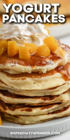 These yogurt pancakes are fluffy and sweet. Make them with Greek yogurt to give them extra substance to keep the family full until lunch! #spendwithpennies #yogurtpancakes #breakfast #recipes #oatmealyogurt #healthy #yogurt #yogurtpeach #withyogurtandfruit #yogurtbanana Pancake Recipe With Yogurt, Yogurt Pancakes, Pancakes And Waffles, Fluffy Pancakes, Birthday Cake Pancakes, Fall Birthday Cakes, Brunch Recipes, Breakfast Recipes, Pancake Recipes