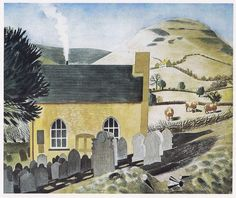 Chapel at Capel y ffin Eric Ravilious 10 x 12 inch ready mounted print SUPERB
