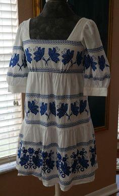 Moda International Dress Size 0 Peasant Embroidered White & Blue Boho Chic  #ModaInternational #EmpireWaist #Casual