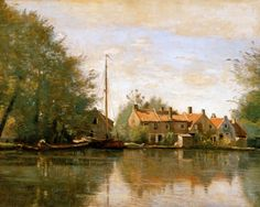 Jean-Baptiste Camille Corot Landscapes   Jean-Baptiste Camille Corot - River Landscape in Holland - france ...