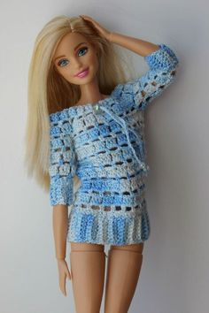 27 Free Crochet Barbie Clothing Model Ideas With You Colorize Your Toys! - Page 4 of 27 - apronbasket . barbie - no pattern Barbie Outfits, Barbie Clothes Patterns, Crochet Barbie Clothes, Clothing Patterns, Crochet Barbie Patterns, Crochet Doll Dress, Barbie Top, Barbie Dress, Knitting Dolls Clothes